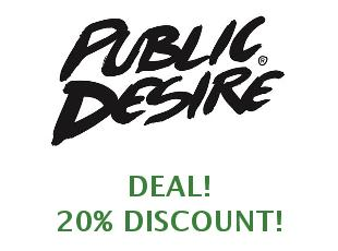 Promotional offers and codes Public Desire save up to 25%